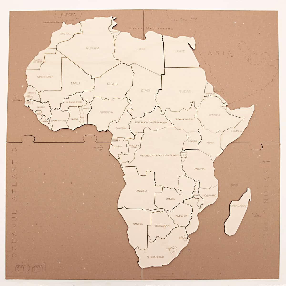Puzzle Hartă Africa Mormi