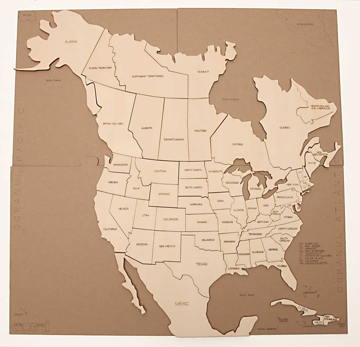 Puzzle Hartă America De Nord Mormi